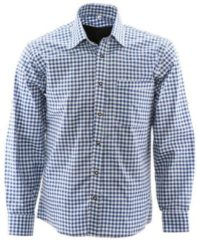 Lederhosenwinkel.nl Tiroler hemd Blauw | Alpen overhemd | 4XL