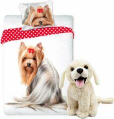 B&B Slagharen Honden dekbedovertrek set 140 x 200 cm, incl. super zachte witte Labrador knuffel 20 cm , kinderen slaapkamer eenpersoons dekbedovertrek