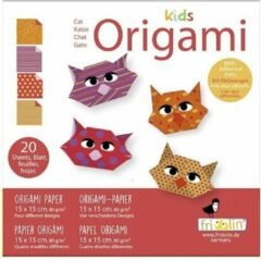 Fridolin Kids Origami: KAT 15x15cm, met zelfklevers, 20 bladen met 4 verschillende tekeningen en zelfklevers, 6+