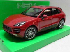 Bordeauxrode Merkloos / Sans marque Porsche Macan Turbo 2014 Rood Metallic 1-24 Welly