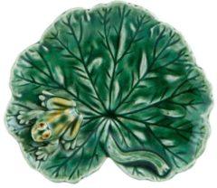Bordallo Pinheiro Folhas Serveerschaaltje - Geraniumblad - Kikker - Groen - Aardewerk - 13 cm