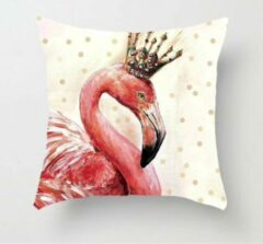 Beige MFFL Kussenhoes Flamingo met Kroontje (500044)