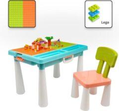 Decopatent® - Kindertafel met 1 Stoel - Speeltafel met bouwplaat (geschikt voor LEGO DUPLO) en vlakke kant - 2 Vakken - 515 Bouwstenen