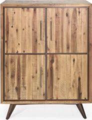 Möbel Ideal Highboard Tati 147cm Akazie Massiv Braun Vintage