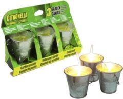 Gele Merkloos / Sans marque Citronella kaarsjes set van 3x stuks in emmertjes - Anti insecten en muggen kaarsen - geurkaarsen