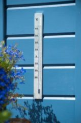 Grijze Nature Muurthermometer aluminium 37x3,8x0,6cm