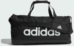 Zwarte Adidas Linear Duffel M black/white Weekendtas