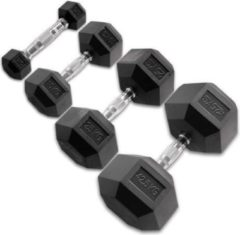 Zwarte Body-Solid Hexagon Rubber Dumbbell - per Paar - 25 KG Paar - Rubber
