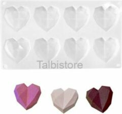 Witte Talbistore.nl Mini harten mal – chocolade – diamanten – 3D heart – bakvorm – bonbons – mold – bakvormen- Eid mubarak - Suikerfeest