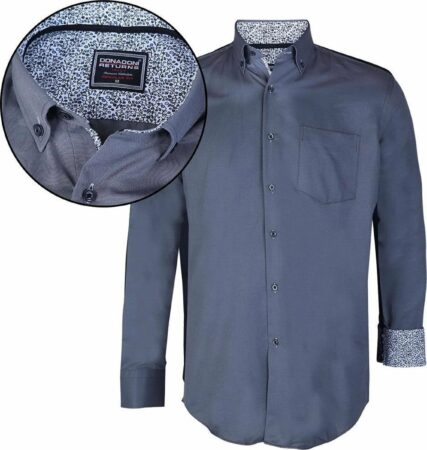 Afbeelding van Grijze Donadoni Regular fit Heren Overhemd Maat L