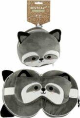 Puckator - Resteazzz - Nekkussen met Slaapmasker - Grijze Wasbeer rond nekkussen - Neksteun voor Reis Vliegtuig/Auto/Bus - Panda