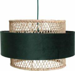 Raw Materials Suave Lamp - Hanglamp - Rotan en Velvet - Ø 45 cm - Groen