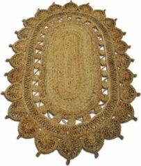Naturelkleurige Rocaflor Vloerkleed jute naturel ovaal 120x180cm 100% handgemaakt