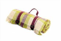 Tweedmill Fantastisch picknickkleed / strandkleed Geruit Paars, Groen en Crème | Duurzaam van gerecycled wol met waterdichte laag | Inclusief handige spanbandjes | Top kwaliteit | Made in the UK