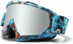 Skibril - Snowboardbril - Crossbril - Zilver Spiegel