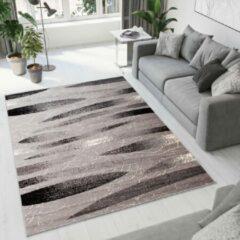 Tapiso Dream Vloerkleed Korte Pool Woonkamer Slaapkamer Grijs Zwart Lijnen Design Trendy Modern Vormen Duurzaam Hoogwaardig Tapijt Maat - 80 x 150 cm
