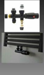 Bel Radiator kraan Midden Aansluitset Recht Zwart M30xM16/2