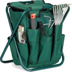 Groene Relaxdays - tuingereedschapsstoeltje - tuinkruk - campingkruk - kruk - 16 vakken