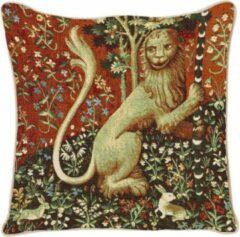 Rode Signare Kunst kussenhoes - Lady en Unicorn - Dame en de Eenhoorn - Lion