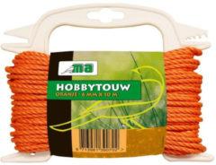 Merkloos / Sans marque Oranje touw/draad 6 mm x 10 meter - Hobby/klus touw gedraaid - Dik en stevig touw voor binnen en buiten gebruik