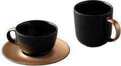 Goudkleurige Driedelige koffie- en theeset, Zwart/Goud - Porselein - BergHOFF|Gem Line