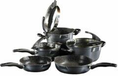 5-delige pannenset Stoneline grijs/zwart
