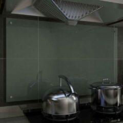 VidaXL Spatscherm keuken 100x60 cm gehard glas wit