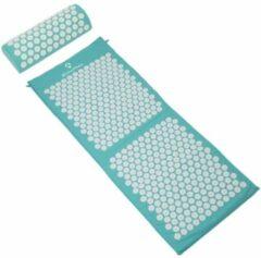#DoYourFitness - XXL Acupressuur Set - »Yumanyi« - mat + kussen - Maat : spijkermat (125x48cm) en kussen (48x9cm) - turquoise