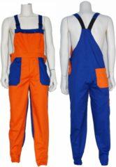 Blauwe Yoworkwear Tuinbroek polyester/katoen oranje-korenblauw maat 46