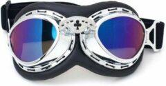 Blauwe CRG Chrome steampunk rider motorbril multi kleur glas