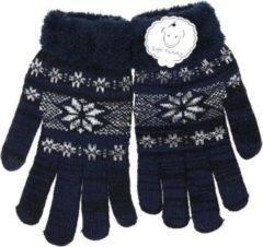 Marineblauwe Merkloos / Sans marque Gebreide winter handschoenen navy blauw/Nordic print voor heren