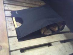 Zwarte VuurZon by TT TT 15 Houtdragerstas zwart met houtendragers - canvas - hout - zwart H62/B49/D24cm
