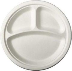 Pure - Disposable Tableware 12x Witte suikerriet vakjesbordjes 23 cm biologisch afbreekbaar - Ronde wegwerp bordjes - Pure tableware - bbq - Duurzame materialen - Milieuvriendelijke wegwerpservies borden - Ecologisch verantwoord