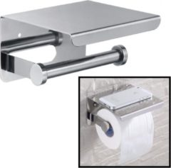 Roestvrijstalen Decopatent® Toiletrolhouder Rvs - Toiletrolhouder met telefoonhouder / plankje - Toilet / WC papier rolhouder - Wandmodel - Zilver
