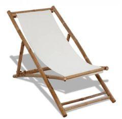 Witte VidaXL Inklapbare bamboe stoel met canvas