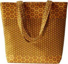 Jacqui's Arts & Designs Dames Schoudertas Geel - handgemaakt - shweshwe stof - Afrikaanse stof - kleurrijk - etnische stof