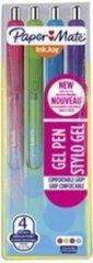 Roller balpen Papermate Inkjoy gel inklikbaar punt 1 mm - breed - hoesje met 4 fun kleuren