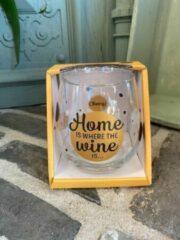 Gouden Creaties van hier Wijn - water glas / Home is where the wine is / wijnglas / waterglas / leuke tekst / moederdag / vaderdag / verjaardag / cadeau