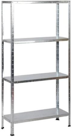 Afbeelding van Erro Storage Opbergrek - Gegalvaniseerd metaal - 90 cm breed – 173 cm hoog - 4 legborden - 85 kg per legbord - Monteren zonder schroeven