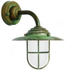 Franssen Verlichting Maritiem antieke wandlamp antiek verkoperd messing - zwart/groen