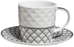 Cosy&Trendy Cosy & Trendy Mosaic Espresso Kop En Schotel - 10 cl - Set-6