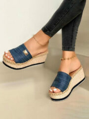 Newchic Plus Size Casual Solid Color Open Toe Espadrilles Platform Slippers