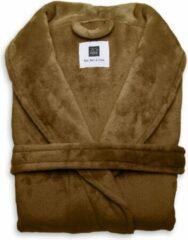 Heerlijk Zachte Unisex Fleece Badjas Lang Model Cognac Bruin | XL | Comfortabel En Luxe | Met Ceintuur, Zakken En Kraag