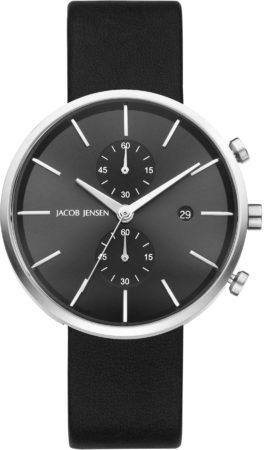 Afbeelding van Zilveren Jacob Jensen chronograaf herenhorloge Linear 620