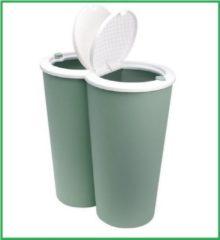 Monzana Dubbele vuilnisbak groen, prullenbak, 2 x 25 liter