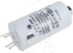 Philips Whirlpool Kondensator 12,50µF 450V (mit 6,3 mm AMP-Doppelsteckfahnen & Bodenbefestigungsschraube M8) für Waschmaschinen AV0806