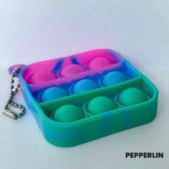 Blauwe Blij Kind - Fidget - Popit - Mini - Pop it - Marble - Pink - Vierkant - Sleutelhanger - Klein - Regenboog - Paars - Groen