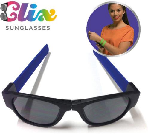 Afbeelding van Clix Zonnebril inklapbaar blauw CLI001 - vakantiegadget 2019 - opvouwbare zonnebril - oprolbare pootjes - fietsbril - festivalbril - hang aan je stoel of fiets - rol om je pols - handige bril