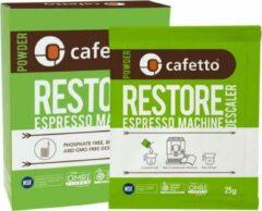 Groene Cafetto Restore - Biologische Espresso Machine Ontkalker - verpakking met 4x zakje à 25gr. descaler