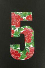 Rode Huisnummer sticker Rozen 5, Rozen sticker nr. 5, huisnummer cijfers - afvalbak nummers- kliko cijfer vijf- container nummers- coverart- plakcijfers- rozen huisnummer- brievenbus nummers, CoverArt
